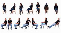 group of woman and man sitting on white background.