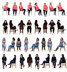 various women sitting in various different ways on white background.