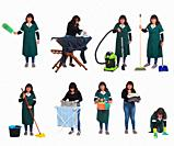 woman doing different cleaning tasks on white background.