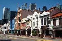 Singapore, Republic of Singapore, Asia - Looking down the deserted South Bridge Road with its traditional shophouses in Chinatown and the skyscrapers ...