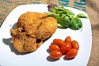 real Italian veal cutlet with crispy breading.