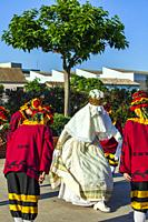 La Moma dance. The dancers are using a mask because of the Covid-19. Corpus dance. Picanya (València, Spain). June 2021.