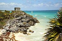View to the Temple Of The God Of Wind-Templo Del Dios Viento and to the beach at the Prehispanic Mayan city of Tulum Archaeological Site, Tulum, Quint...