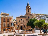 Fountain of 'La Mora' and in the background the Church of Consolacion - Iglesia de Consolación, seat of the parish of Santa Maria Maggiore - Santa Mar...
