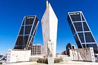 Calvo Sotelo monument, KIO Towers and Caja Madrid Obelisk. The Caja Madrid Obelisk is an obelisk designed by Santiago Calatrava. Plaza de Castilla - C...