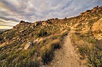 Pathway, rocks and cistus in Sierra Cabrera, early in the morning. Madrid. Spain. Europe.