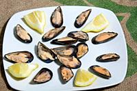 mussels and lemon original italian sea food, they can also be eaten raw.