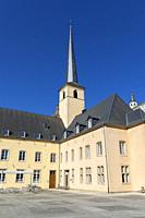 Europe, Luxembourg, Luxembourg City, Church of Saint John in Grund and the Neimënster Cultural Centre.