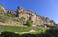 Europe, Luxembourg, Luxembourg City, Casemates du Bock above the Alzette River and Valley.