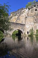 Europe, Luxembourg, Luxembourg City, The ancient Stierchen Bridge across the Alzette River, below the Casemates du Bock fortifications.