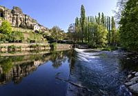 Europe, Luxembourg, Luxembourg City, Weir on the Alzette River below the Casemates du Bock fortifications.
