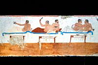 Fresco from the ´Tomb of the Diver´ (Tomba del Tuffatore). 480/70 BC - Archaeological Area of Paestum - Salerno, Italy.