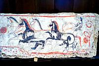 Fresco depicting four-horse charriot race. Andriuolo, Tomb 48 - Southern slab (340-330 BC). - Archaeological Area of Paestum - Salerno, Italy.