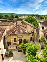 view over old town, Puy l Eveque, Lot Department, Occitanie, France.