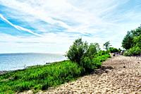 Beautiful and tranquil sea shore panorama.