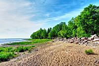 Scenic coast line. Tranquil summer landscape.