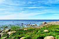 tranquil sea shore. Colourful summer landscape.