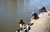 fishing on the Fraser River at Ladner, BC, Canada.