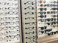 Eyeglass Display in Optomotristâ. . s Office, Wellsville, New York, USA.