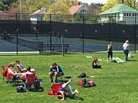 High School Students Hanging Out Outdoors, Wellsville, New York, USA.