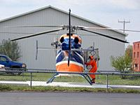 Pilot Boarding Medical Helicopter, Wellsville, New York, USA.