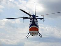 Medical Helicopter in Flight, Wellsville, New York, USA.
