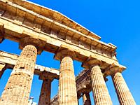 Detail of the Greek doric style temple of Neptune - Archaeological Area of Paestum - Salerno, Italy.