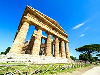 The Greek doric style temple of Neptune - Archaeological Area of Paestum - Salerno, Italy.