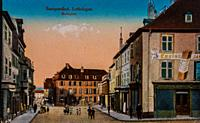 saargenfund, lorraine, marketplace, carte postale 1900.