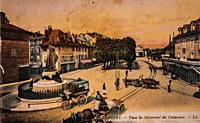 chambery, place of the centenary monument,, postcard 1900.
