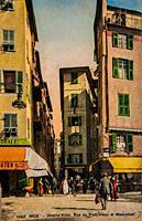 old town of nice, rue du pont vieux et mascoinat, postcard 1900.