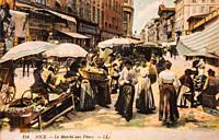 nice le marche aux fleurs, postcard 1900.