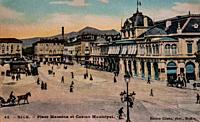 nice, place massena and municipal casino, postcard 1900.