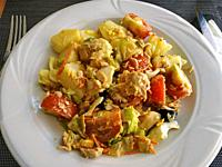 Salad of potatoes and vegetables.