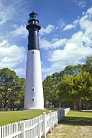 Historic lighthouse in Hunting Island State Park in the Beaufort area of South Carolina.