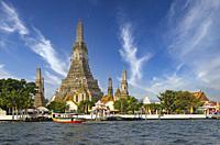 Wat Arun (Arun Temple). Chao Phraya River. Bangkok. Thailand.