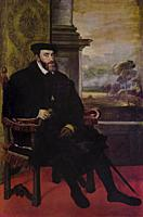 The Emperor Charles V seated, King of Spain, painted by Tiziano in 1548. Alte Pinakothek, Munich.