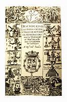 Title page from first edition of Descripcion de las Indias, 1601. By Antonio de Herrera y Tordesillas with iconographic engravings of indigenous peopl...