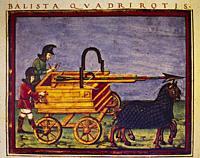 "Ballista quadrirotis. Carroballista. Roman siege machine illustration De rebus bellicis"""", treatise of war machinery of 4th-5th century."