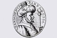 Hayreddin Barbarossa or Khayr al-Din Barbarus portrait. Admiral of the Ottoman Navy during the mid 16th century. Frans van Mieris engraving.