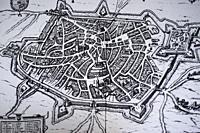 Cambrai or Kamerijk city map dating from 16th Century. Theatrum Germaniae Civitatum engraving.