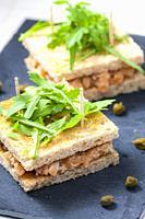 salmon tartare in toast bread.