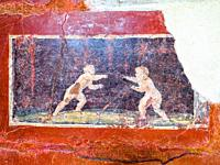 Detail of a fresco decorated bath wall - Villa San Marco, Stabiae - Napoli, Italy.