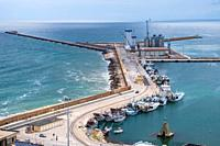 view of the port of ortona, abruzzo, italy.