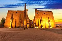 Luxor Temple main view, beautiful sunset light, Egypt.