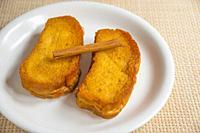Torrijas with cinnamon stick, traditional Holy Week dessert. Spain.