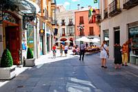 Pedestrian street in the old town. Avila, Spain.