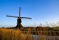Windmill the Gelkenesmolen near the dutch village Groot-Ammers is one of four windmills standing along the Ammersche Boezem canal.