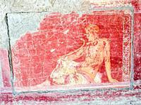 Fresco decorated wall in the fourth style - Villa Arianna, Stabiae - Napoli, Italy.