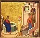 Duccio di Buoninsegna. Christ and the Samaritan Woman. . 1310 - 1311. Tempera and gold on panel. 43. 5 x 46 cm.